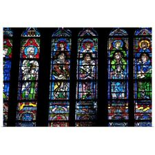 Poster Print Wall Art entitled Stained glass windows inside Notre Dame Cathedral