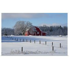 Poster Print Wall Art entitled Red barn in winter, Waterloo, Quebec, Canada