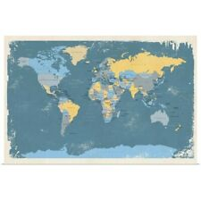 Poster Print Wall Art entitled Retro Political Map of the World