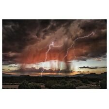Poster Print Wall Art entitled Lightning storm over Sedona, Arizona
