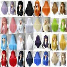 "70cm/28"" Women Long Straight Cosplay Hair Wig Heat Resistant Full Wigs 10 Colors"