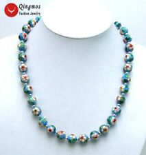 "SALE Big 12mm Sky-blue Round Cloisonne Tibetan Silver Beads 20"" necklace-n5363"