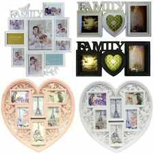 EMBOSSED FAMILY PHOTO FRAME MULTI PICTURE WALL HANGING APERTURE HOLDER 6 DESIGNS