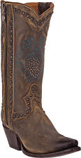 "Dan Post Womens Western Boots 11"" Distressed Cowboy Brown DP3441"