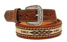 Ariat Western Mens Belt Leather Embossed Ribbon Inlay Brown A1019802
