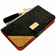 Womens Leather Flip Wallet Purse Case Credit Card Holder BLACK iPhone 6 6S Plus