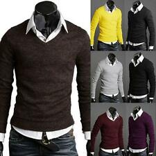 Men Casual Slim Fit V-neck Knitted Cardigan Pullover Jumper Sweater Tops Outwear
