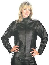 Womens Xelement Vented Leather Motorcycle Biker Jacket Z/O lining Sizes