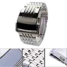 New Iron Men's Stainless Steel Band Mens LED Digital Sport Quartz Wrist Watch