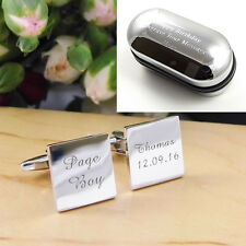 Silver Square Personalised ENGRAVED Page Boy Wedding Cufflinks