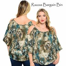 New Ladies Open Shouldered Top Plus Size 16 18 & 20 (9865)MO