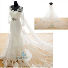 Long Sleeve White Lace Formal Wedding Dresses Tulle Mermaid Bridal Gowns Beaded
