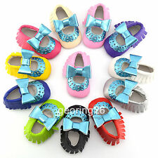 Cute Blue Baby Hollow Double Bow Girls Toddler Soft Infant Moccasins Shoes