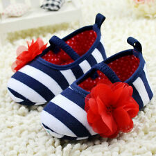 Nice Toddler Girls Soft Sole Crib Shoes Chic Flower StripesDress Baby Shoes L63