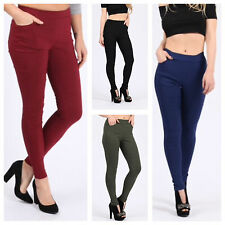 NEW WOMENS LADIES CASUAL STRETCHY TWO POCKET TROUSERS TREGGINGS SEXY LOOK PANTS