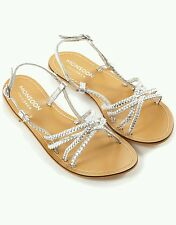 Ex Monsoon Girls SILVER Plaited Leather Sandals - Shoe Size  7 8 9 11