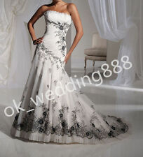 New Black embroidered Lace Strapless A Line Tulle Wedding Dresses Bridal Gown