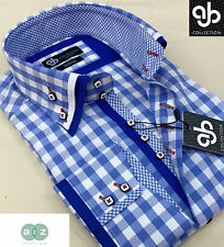 New Mens Smart Casual Blue Check Double Collar Italian Design Slim Fit Shirt