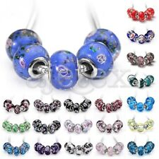 5pcs Glass Lampwork Murano European Beads Fit Bracelet 14x10/14x8.5mm Wholesale
