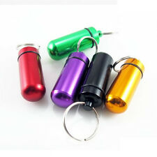 Pill Medicine Box Case Holder Container Capsule Key Ring Chain Waterproof 7Color
