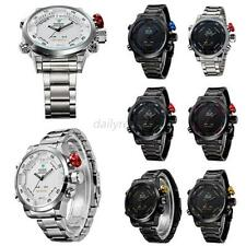 3D Weide Waterproof Men LCD Digital Date Sport Stainless Steel Wrist Watch D52