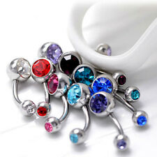 10pcs Double Gemmed CZ Belly Button Navel Ring Body Piercing FREE Retainer Sexy