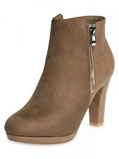 CASPAR SBO047 Ladies Faux Suede Ankle Booties Boots with Heel