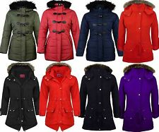 New Womens Ladies Luxuary Fleece Parka Jacket Coat Faux Fur Hooded Plus Size