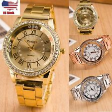 Fashion Women Lady Roman Stainless Steel Crystal Analog Quartz Wrist Watch US