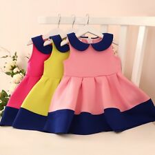 Baby Girl Lapel Sleeveless Pleated Dress Toddler Child Princess Party Skirt 3-7Y