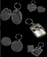 10x Transparent Blank Acrylic Keyring Make Your Own Photo Picture Frame Keychain