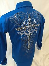 Mens Victorious Tribal Cross Button Up Shirt Stones Blue Roar W Style 48 NWT NEW