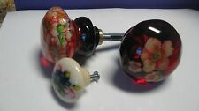 ANTIQUE DOOR KNOBS -NEW-- PROVEN 20 YEAR TOP COAT -RUBY RED   FREE CABINET