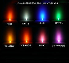 USA*100x 10mm Ultrabright DIFFUSED LED Red White Blue Green Y O Pink UV-Purple