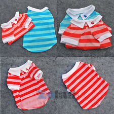 Nice Wide Striped Pet Dog POLO T-shirts Poppy Clothes 100% Cotton Doggy Shirts