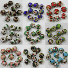 Lots Of 70Pcs Mixed Color Round Cloisonne Fit Charms Bracelet Spacer Beads 8mm