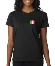 Italy Flag Symbol Italian Pride Embroidered Ladies T-Shirt S-2XL