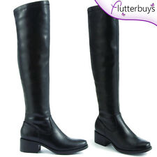 New Womens Low Heel Over The Knee Riding Flat Boots faux LEATHER Size free post