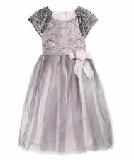 Girls Dress Silver Lace & Tulle Wedding Party Special Occasion SZ 4 5 6 6X