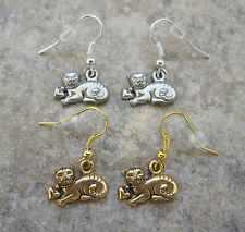 Cat with Heart Collar Fine Pewter Earrings ~ CAT LOVERS ~ SALE!