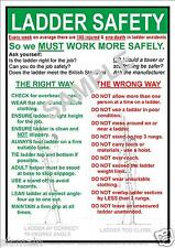 HEALTH AND & LADDER SAFETY WORKPLACE A5 LAMINATED POSTER BASIC EVERYDAY VALUE