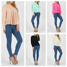 NEW WOMENS LADIES LONG SLEEVE SWING LOOK ZIPPED BACK PLEATED CHIFFON BLOUSE TOP