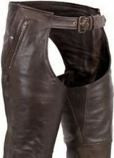 MENS LADIES Biker RETRO BROWN Leather MOTORCYCLE CHAPS Over Pants TAPERED LEG