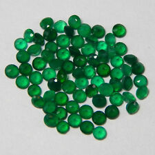 Natural Green Onyx Cut Round Cut 1mm - 15mm Calibrated Size Green Color Gemstone