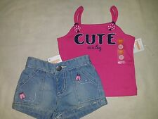 Gymboree CAPE COD CUTIE Pink Cute Bug Tank Denim Ladybug Shorts Lot 2pc NWT 3-6