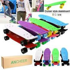 "22"" Cruiser Style Skateboard Complete Retro Deck Mini Skate Board US Sale"