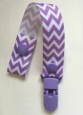 Baby Hand Made Dummy Pacifier Clip Chain Dummy Saver *Lavender Chevron*