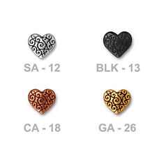 TierraCast Scroll Heart Bead - plated pewter - decorative romantic beads