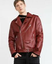 BNWT ZARA MAN FAUX LEATHER BIKER JACKET  RED  REF.0706/332