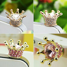Crystal Crown Earphone Jack Anti Dust Plug Cap Stopper for CellPhone 3.5mm QIK